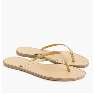 NEW J. Crew Leather Capri Sandals Metallic Gold 8M